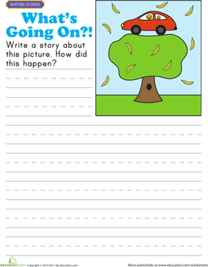 First Grade Reading & Writing Worksheets: Story Starters: What's Going On?