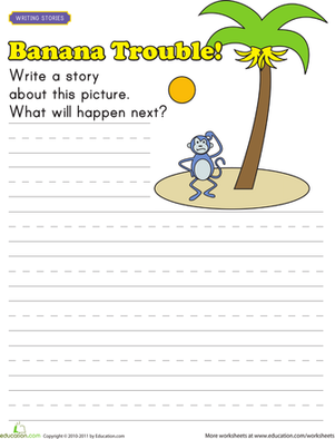 First Grade Reading & Writing Worksheets: Picture Prompt Story Starters