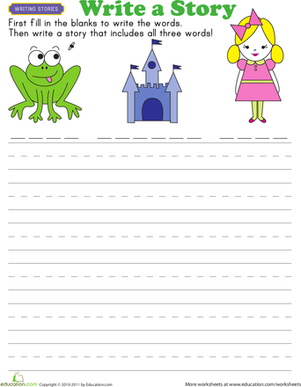 First Grade Reading & Writing Worksheets: Story Starters: Fairy Tales