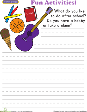 Worksheets Fun Activity Worksheets write about yourself fun activities worksheet education com first grade reading writing worksheets activities