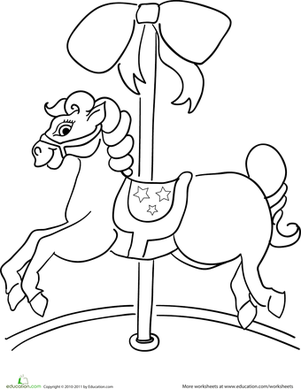 Preschool Coloring Worksheets: Color the Carousel Horse