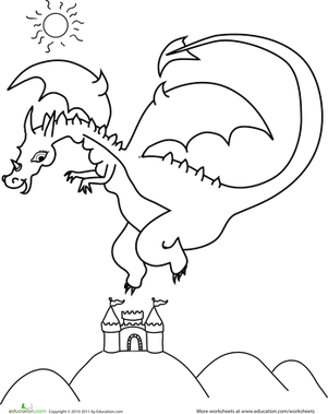 Kindergarten Coloring Worksheets: Color the Flying Dragon
