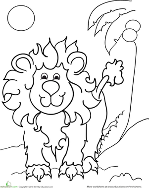 Kindergarten Coloring Worksheets: Color the Fluffy Lion