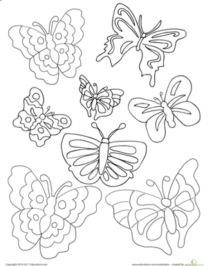 First Grade Coloring Worksheets: Butterflies Coloring Page