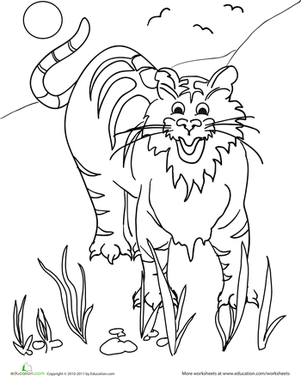 Preschool Coloring Worksheets: Color the Tiger