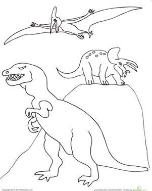 Kindergarten Coloring Worksheets: Color the Pack of Dinosaurs