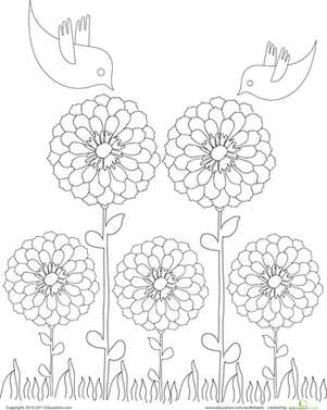Kindergarten Holidays & Seasons Worksheets: Color the Springtime Scene