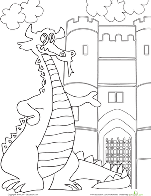 First Grade Coloring Worksheets: Color the Dragon and Castle