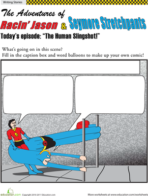Fifth Grade Reading & Writing Worksheets: Make a Superhero Comic