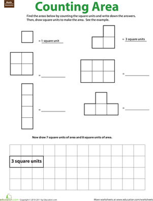 Third Grade Math Worksheets: Geometry: Counting Area