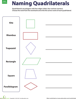 Printables Quadrilateral Worksheets naming quadrilaterals worksheet education com third grade math worksheets quadrilaterals