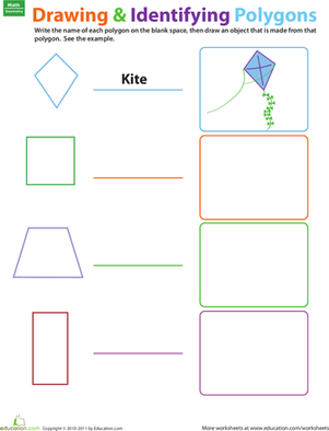 Third Grade Math Worksheets: Drawing and Identifying Polygons