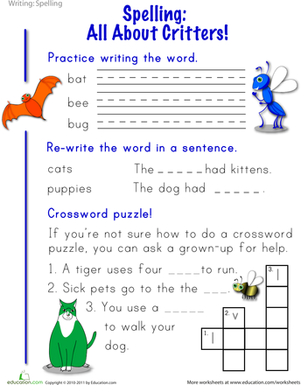 Spring into Spelling: Critters