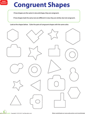 Third Grade Math Worksheets: Congruent Figures