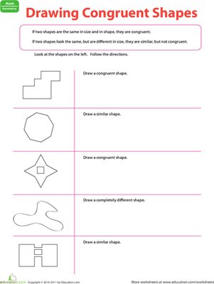 Third Grade Math Worksheets: Drawing Congruent Shapes