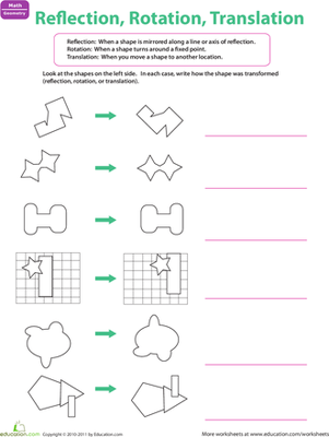 Printables Geometry Translation Worksheets reflection rotation translation worksheet education com