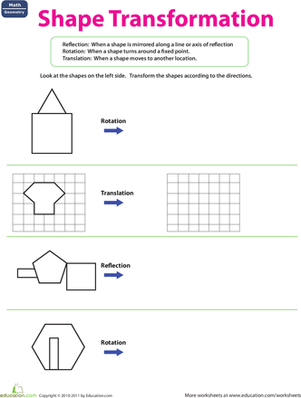 Printables Transformation Geometry Worksheets shape transformation worksheet education com