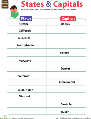 Printables States And Capitals Worksheets states capitals worksheet education com fifth grade social studies worksheets capitals