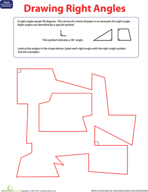 Third Grade Math Worksheets: Right Angle Symbol: Label the Right Angle