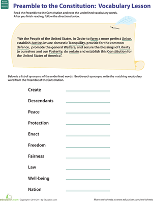 Printables Constitution Worksheet vocab in history preamble to the constitution worksheet fifth grade reading writing worksheets constitution