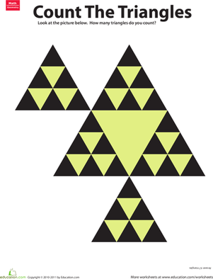 Third Grade Math Worksheets: Count the Triangles