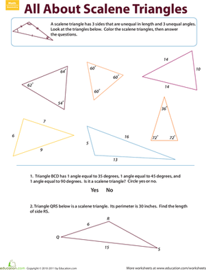 Third Grade Math Worksheets: Scalene Triangles