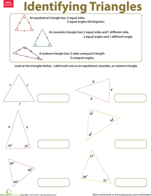 Worksheets Triangles Worksheet identifying triangles worksheet education com third grade math worksheets triangles