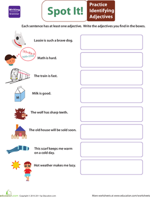 Worksheets Identifying Adjectives Worksheet get into grammar identify adjectives worksheet education com second grade reading writing worksheets adjectives
