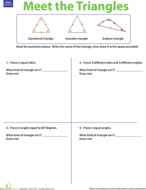 Printables Triangles Worksheet three types of triangles worksheet education com