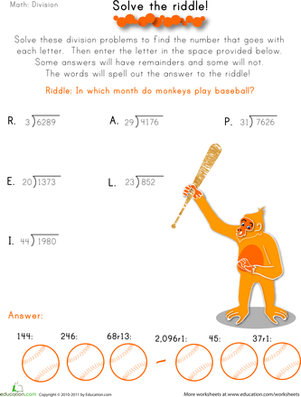 Fifth Grade Math Worksheets: Solve the Division Riddle #3