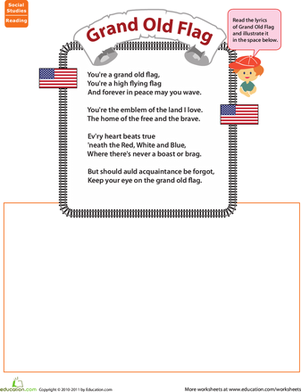 First Grade Reading & Writing Worksheets: Grand Old Flag