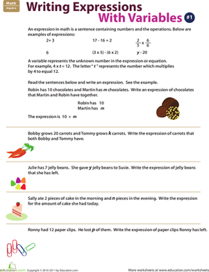 Fifth Grade Math Worksheets: Writing Expressions with Variables: 1