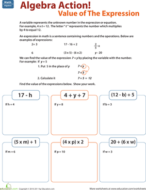 Fifth Grade Math Worksheets: Find the Value of the Expression