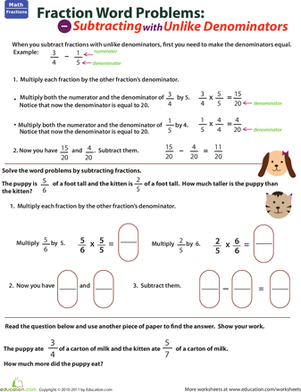 Fifth Grade Math Worksheets: Subtracting with Unlike Denominators Word Problem