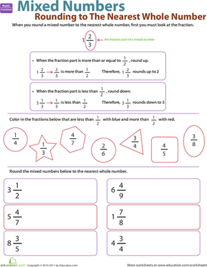 Fifth Grade Math Worksheets: Rounding to the Nearest Whole Number