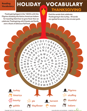 Second Grade Reading & Writing Worksheets: Holiday Word Search: Thanksgiving