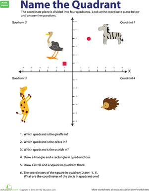 Fifth Grade Math Worksheets: Name the Quadrant