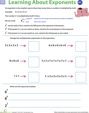 Fifth Grade Math Worksheets: Exponents Rules