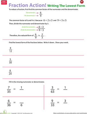 reducing fractions worksheet lowest terms
