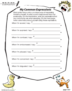 Fifth Grade Reading & Writing Worksheets: My Personal Expressions: Write a Short Story