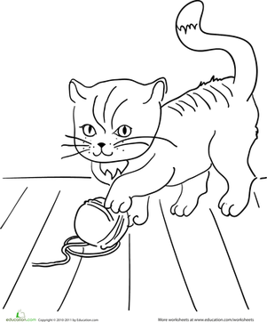 Preschool Coloring Worksheets: Color the Playful Kitten