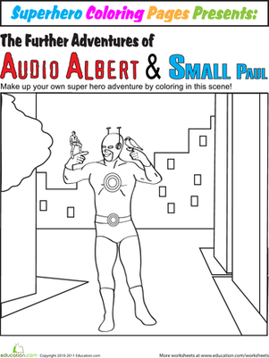 First Grade Coloring Worksheets: Color the Superhero Adventure #1