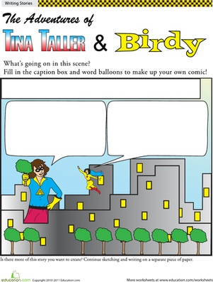 Fifth Grade Reading & Writing Worksheets: Make Your Own Comic