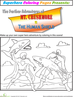First Grade Coloring Worksheets: Color the Superhero Battle
