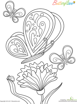 First Grade Coloring Worksheets: Color the Butterflies: #1
