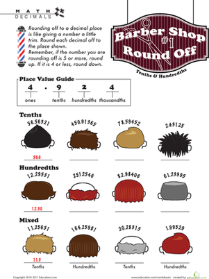 rounding decimal places worksheet. Black Bedroom Furniture Sets. Home Design Ideas