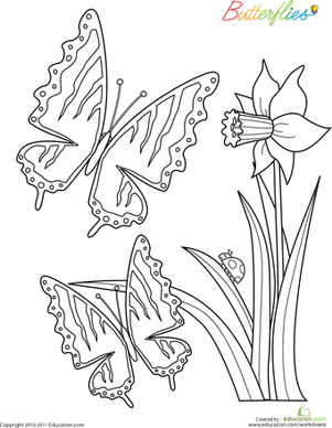 Kindergarten Coloring Worksheets: Color the Butterflies: #2