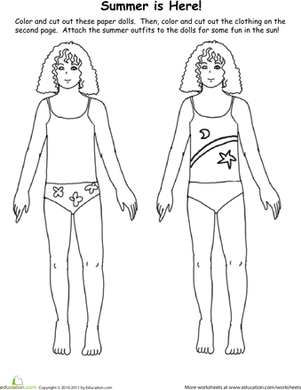 First Grade Coloring Worksheets: Paper Dolls: Summer is Here!