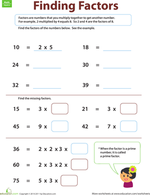 Finding Factors | Worksheet | Education.com
