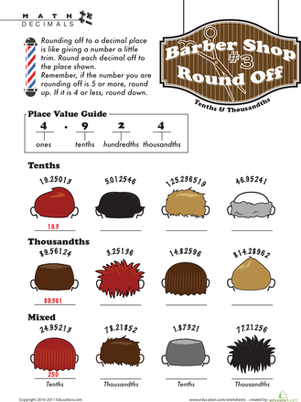Fifth Grade Math Worksheets: Barber Shop Decimal Round Off #3